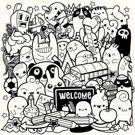 Illustration pour Hand drawn Crazy doodle Monster City,drawing style.Vector illustration. - image libre de droit