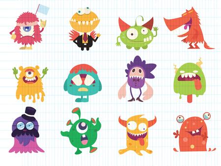 Ilustración de Cartoon Monsters collection. Vector set of cartoon monsters . Design for print, party decoration, t-shirt, illustration, logo, emblem or sticker - Imagen libre de derechos