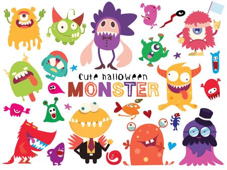 Ilustración de Cute Scary Halloween Monsters and Candy, Vector illustration of Doodle cute Monster - Imagen libre de derechos