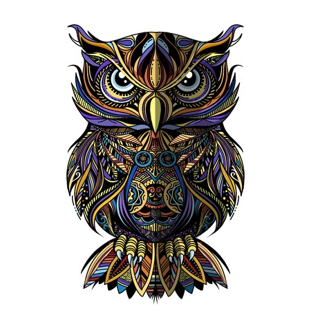 Illustration pour OWL drawn in style. Antistress freehand sketch drawing. Vector illustration. - image libre de droit
