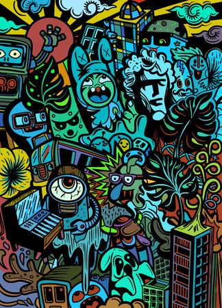 Ilustración de Cute  Monsters group ,Set of funny cute monsters about pollution, aliens or fantasy animals for gretting card or t-shirts. Hand drawn line art cartoon vector illustration - Imagen libre de derechos