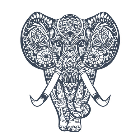 Illustration pour Vintage graphic vector Indian lotus ethnic elephant. African tribal ornament. Can be used for a coloring book, textile, prints, phone case, greeting card - image libre de droit