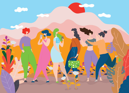 Illustration for Happy Women s Day March 8 ,Happy girls standing together ,Group of female friends,  Cute cards and posters for the spring holiday.  woman and flowers , Colorful vector illustration - Royalty Free Image