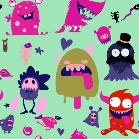 Illustration for Cartoon Monsters collection. Vector set of cartoon monsters isolated. Design for print, t-shirt, illustration, logo, sticker ,seamless background doodle .Vector hand drawn illustration. - Royalty Free Image