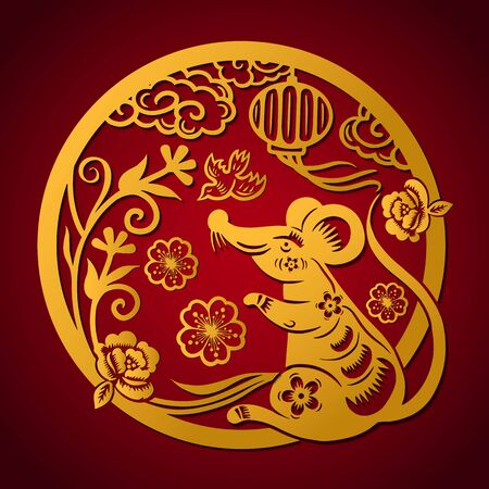 Illustration pour Happy Chinese New Year 2020 year of the rat, Zodiac sign for greetings card, invitation, posters, banners, calendar - image libre de droit