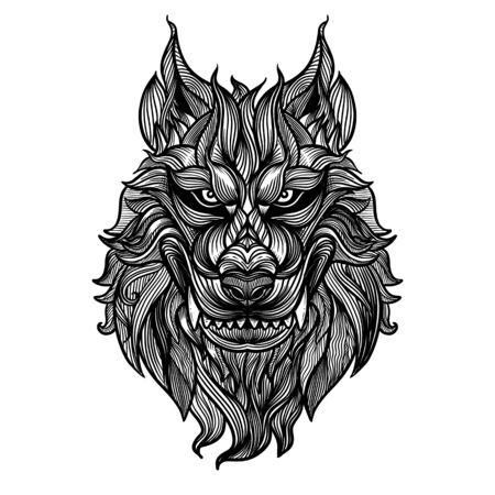 Illustration pour Abstract head fox hand draw,Vector illustration head ferocious wolf, outline silhouette - image libre de droit