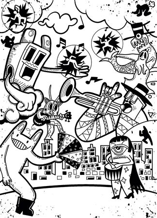 Illustration pour Vector illustration of Monsters and cute alien friendly, cool, cute hand-drawn monsters collection - image libre de droit