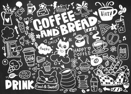 Illustration pour Set of hand drawn coffee and delicious sweets . Vector illustration. Cakes, biscuits, baking, cookie, pastries, donut, ice cream, macaroons. Perfect for dessert menu or food package design - image libre de droit
