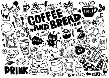 Illustration for Set of hand drawn coffee and delicious sweets . Vector illustration. Cakes, biscuits, baking, cookie, pastries, donut, ice cream, macaroons. Perfect for dessert menu or food package design - Royalty Free Image