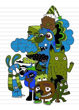 Illustration pour Vector illustration of Monsters and cute alien friendly, cool, cute hand-drawn monsters collection Vector EPS 10 illustration - image libre de droit