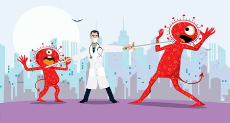 Illustration for Vector illustration fight covid-19 corona virus. cure corona virus. Doctor fight virus concept. corona viruses vaccine concept. end of 2019-ncov. don't be afraid of the corona virus concept. - Royalty Free Image