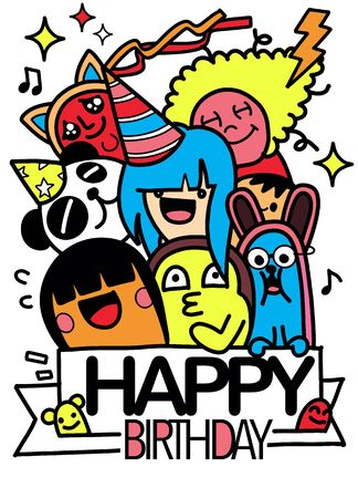 Illustration for Happy birthday vector design with smileys wearing birthday hat , for party and celebration. Hand Drawn Vector Illustration of Doodle, illustrator line tools drawing,Flat Design  - Royalty Free Image