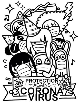 Illustration pour Group of people wearing medical masks to prevent disease, flu,  People who are in anxiety and fear because of the corona virus. - image libre de droit