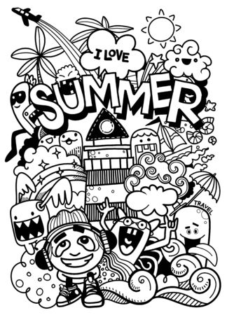 Illustration for Vector illustration with hand drawn doodle cute Monster and summer elements - Royalty Free Image
