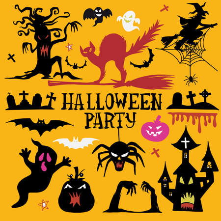Illustration pour Ghost pattern Halloween  spooky scarf isolated repeat wallpaper, tile background devil evil cartoon illustration doodle - image libre de droit