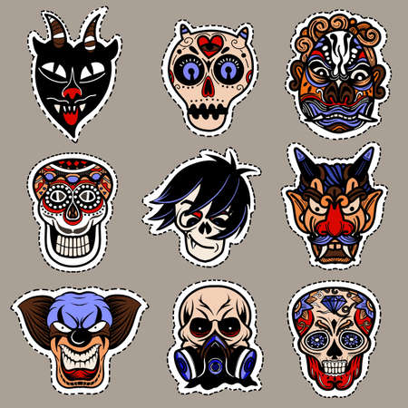 Illustration pour Halloween icon set. Hand-drawn vector illustration ,It can be used for halloween party, posters, greeting cards, fashion design. - image libre de droit