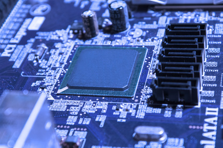 Motherboard closeup in Blue Colored
