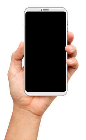 Photo for hands are holding a small bezels Smart Phone Isolated on white background - Royalty Free Image