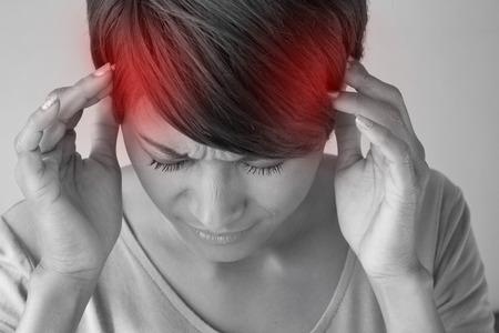 sick woman with headache.