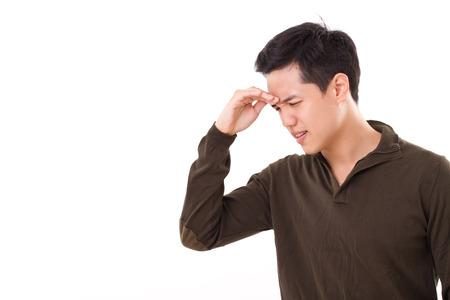 sick, stressed man suffers from headache pain