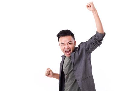Photo pour glad winner man shouting - image libre de droit