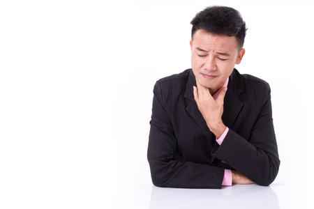 sick businessman suffering sore throat