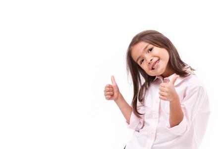 Photo pour kid giving two thumbs up - image libre de droit
