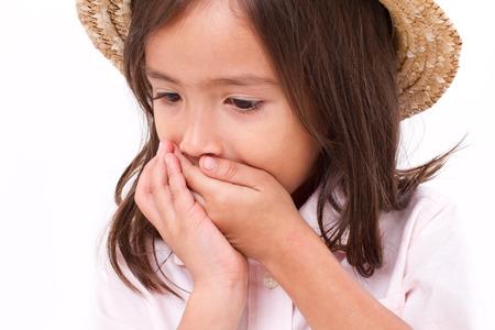 sick girl with nausea or indigestion symptom