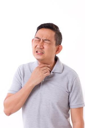 sick man suffering from sore throat