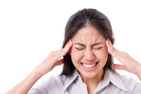 woman suffers from headache, migraine
