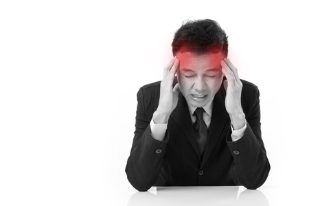 businessman suffers from sickness, severe headache with red alert accent