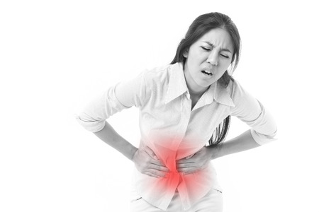 woman suffering from stomach pain, menstruation cramp