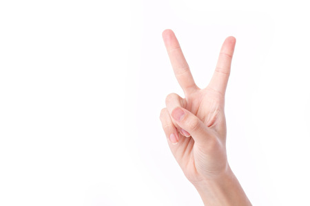 Photo for hand showing, pointing up 2 fingers, victory hand gesture - Royalty Free Image