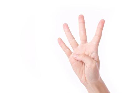 Photo pour hand pointing up 4 fingers, studio isolated - image libre de droit