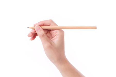 Photo for woman hand holding pencil, writing, drawing, pointing - Royalty Free Image