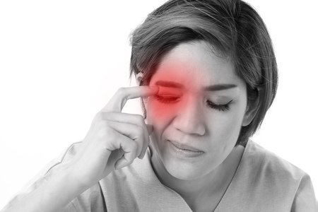 Photo pour woman suffering from eye irritation, inflammation - image libre de droit