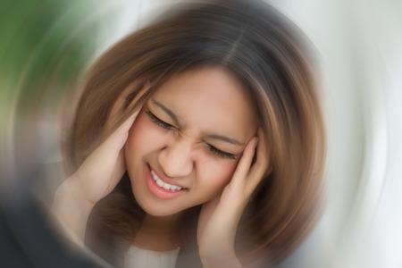 Photo pour sick stressed dizzy woman suffering from vertigo, dizziness, headache - image libre de droit