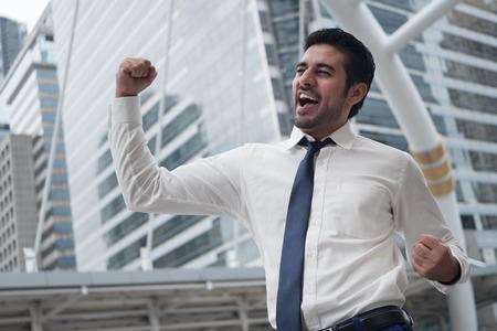 Foto de strong asian business man; portrait of Asian, north indian successful, happy, confident businessman, office worker, business executive, boss, manager - Imagen libre de derechos