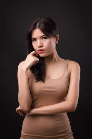 Photo for confident asian woman in elegant evening dress - Royalty Free Image