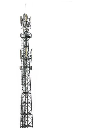 Photo pour Cell phone tower isolated white background. - image libre de droit