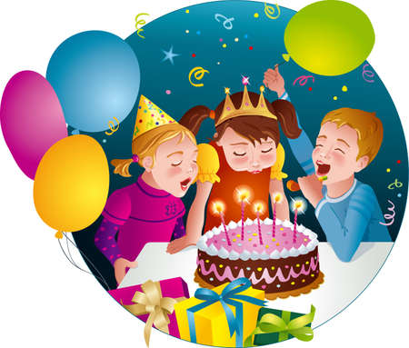 Child s birthday party - kids having fun, blowing candles on cake  Balloons, whistles, presents  Vector illustration