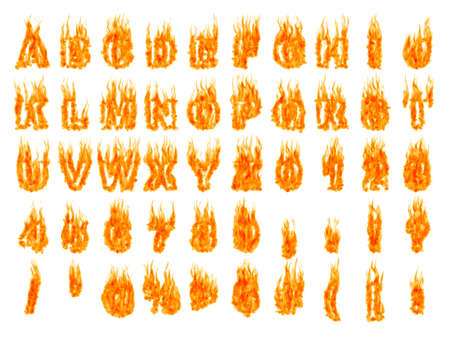 Burning alphabet letters and numbers isolated silhouettes on white background. Rendered 3D illustration