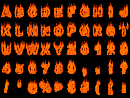 Burning alphabet letters and numbers isolated silhouettes on black background. Rendered 3D illustration