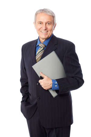 Image of senior businessman smiling, isolated on white