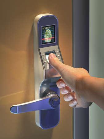 Fingerprint used as an identification method on a door lock. Digital illustration.