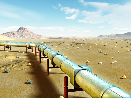 Modern gas pipeline running through a desert landscape. Digital illustration.