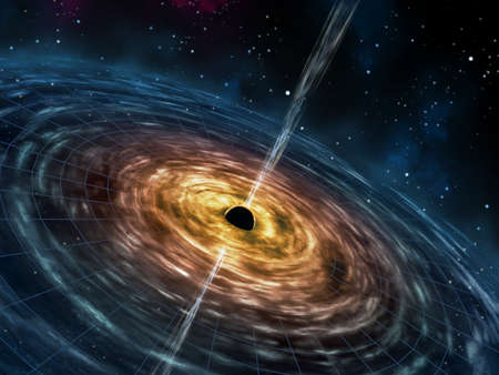 Black hole attracting space matter. Digital illustration.