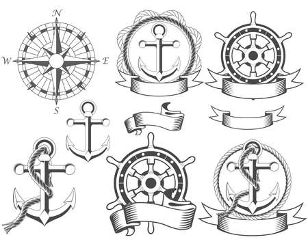 Nautical emblems with different seafaring design elements