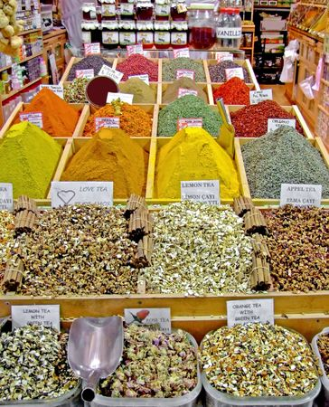 Variety of colorful spices in a spice market store