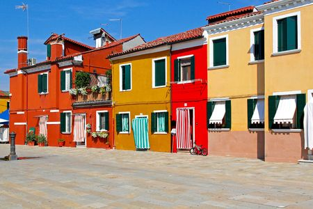 Old retro Mediterranean street with colorful houses